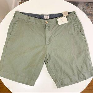"Faherty Cotton Linen 9"" Beach Short Olive 36"